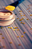 Belleza y maquillaje: producto de la fundación con el cepillo Imagen de archivo libre de regalías