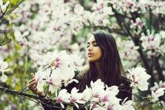 Belleza y naturaleza, juventud y frescura, primavera y verano, magnolia imagenes de archivo