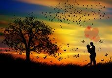 Belleza y pares de resorte de la naturaleza en amor libre illustration