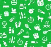 Belleza y salud, fondo, inconsútil, verde, vector Fotos de archivo libres de regalías