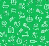 Belleza y salud, fondo verde, dibujo inconsútil, lineal, vector Fotografía de archivo libre de regalías