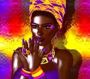 Bellezza afroamericana di modo Un'immagine variopinta sbalorditiva di bella donna con trucco di corrispondenza, gli accessori e i illustrazione di stock