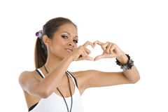 Bellezza asiatica che modella un cuore Fotografie Stock Libere da Diritti