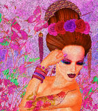 Bellezza asiatica della donna, primo piano del fronte, trucco, cigli ed arte dell'acconciatura con fondo variopinto Fotografia Stock Libera da Diritti