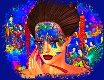 Bellezza asiatica della donna, primo piano del fronte, trucco, cigli ed arte dell'acconciatura con fondo variopinto Fotografie Stock Libere da Diritti