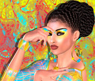 Bellezza asiatica della donna, primo piano del fronte, trucco, cigli ed arte dell'acconciatura con fondo variopinto Immagine Stock