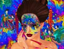 Bellezza asiatica della donna, primo piano del fronte, trucco, cigli ed arte dell'acconciatura con fondo variopinto Fotografia Stock