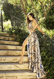 Bellezza castana sensuale che posa in vestito splendido. Immagine Stock Libera da Diritti