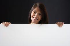 Bellezza con la scheda bianca Fotografie Stock Libere da Diritti