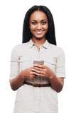 Bellezza con lo Smart Phone Fotografia Stock