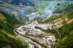 Bellezza dei terrazzi del riso prima di riso che pianta stagione Immagine Stock Libera da Diritti