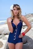 Bellezza del costume da bagno dell'annata Fotografia Stock Libera da Diritti