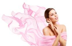 Bellezza della donna, Face Makeup di modello felice, distogliere lo sguardo della ragazza fotografie stock libere da diritti