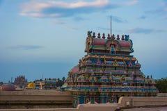 Bellezza della vista di programma delle torri del tempio - Srirangam immagine stock libera da diritti