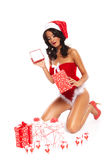 Bellezza di Natale su fondo bianco - gambe lunghe sexy Immagine Stock Libera da Diritti