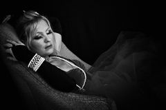 Bellezza di sonno in in bianco e nero Fotografia Stock