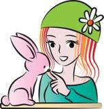 Bellezza e un coniglio Fotografia Stock