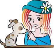 Bellezza e un cucciolo Immagine Stock