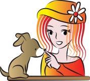 Bellezza e un cucciolo Fotografia Stock Libera da Diritti
