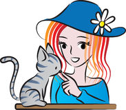 Bellezza e un gatto Immagini Stock