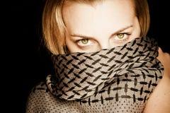 Bellezza eyed verde con il fronte coperto Fotografia Stock Libera da Diritti
