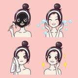 Bellezza facciale di trattamento da fango dalla bella ragazza illustrazione vettoriale