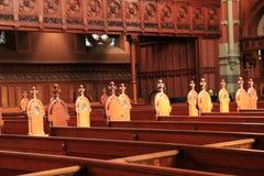 Bellezza interna dei banchi di chiesa in vecchia chiesa del sud, Boston Immagine Stock