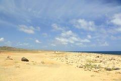 Bellezza naturale del deserto di Aruba Isola di Aruba della costa del nord immagini stock