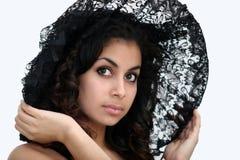 Bellezza nera del merletto fotografie stock libere da diritti