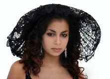 Bellezza nera del merletto immagini stock libere da diritti