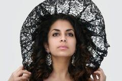 Bellezza nera del merletto fotografia stock