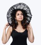 Bellezza nera del merletto immagine stock libera da diritti