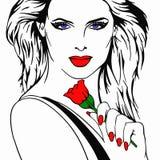 Bellezza rossa della Rosa Fotografia Stock
