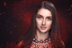 Bellezza rossa demonica Immagini Stock