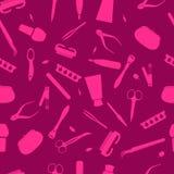 Bellezza senza cuciture Illustrazione dei cosmetici, vettore manicure Fotografia Stock Libera da Diritti