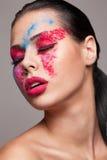 Bellezza sparata di volto del faceart Fotografie Stock Libere da Diritti