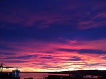 Bellezza splendida delle nature di tramonto del cielo magico Fotografie Stock Libere da Diritti