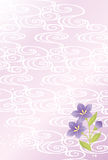 Bellflower card. Purple bellflower and wave postcard Stock Photography
