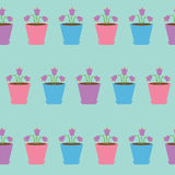 Bellflower flower set in pot. Seamless Pattern Wrapping paper, textile template. Blue background. Flat design. Royalty Free Stock Photos