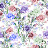 Bellflowers coloful watercolor seamlles pattern Royalty Free Stock Photos