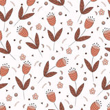 Bellflowers seamless pattern. Vintage background. Orange brown flowers. Floral texture. Light backdrop. Autumn colors. Vector illustration Royalty Free Illustration