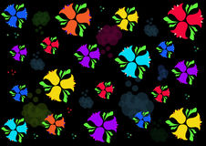 Bellflowers variopinti su un fondo nero Fotografie Stock Libere da Diritti