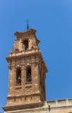 Bellfry della chiesa storica di Almansa Fotografia Stock Libera da Diritti
