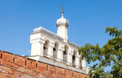 Bellfry of St. Sophia Cathedral in Velikiy Novgorod, Russia. Bell tower of St. Sophia Cathedral in Velikiy Novgorod, Russia royalty free stock photo
