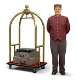 Bellhop avec le chariot de bagage Image libre de droits