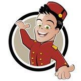 Bellhop or bellboy button vector illustration
