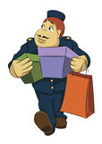 Bellhop carrying boxes Royalty Free Stock Photography