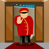 Bellhop showing stop gesture Royalty Free Stock Images