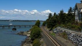 Rail road along the Pacific coast, Bellingham, WA, USA. Stock Photo