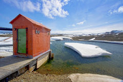 Bellingshausen station, Russian base, Antarctica. Hut or Out house on a jetty, Bellingshausen station, Russian base, Antarctica stock images